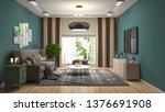 interior of the living room. 3d ... | Shutterstock . vector #1376691908