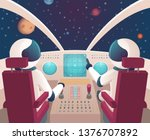 pilots in spaceship. shuttle... | Shutterstock .eps vector #1376707892