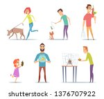 domestic animals. owners with... | Shutterstock .eps vector #1376707922