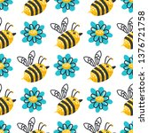 seamless pattern with flowers... | Shutterstock .eps vector #1376721758