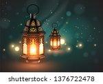 two openwork oriental lamps on... | Shutterstock .eps vector #1376722478
