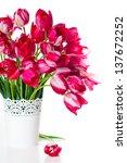 bouquet of bright pink tulips... | Shutterstock . vector #137672252