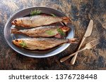 Stock photo smoked baltic herring with dill copy space for your text 1376728448