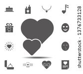 two hearts icon. simple glyph ...