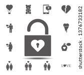 open heart lock icon. simple...
