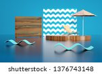 blue wood 3d render image... | Shutterstock . vector #1376743148