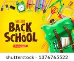 back to school in yellow... | Shutterstock .eps vector #1376765522