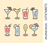 alcohol cocktails icons flat...   Shutterstock .eps vector #1376768072