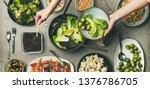 vegan dinner table setting.... | Shutterstock . vector #1376786705