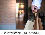 asian girls holding sale... | Shutterstock . vector #1376795612
