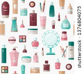 colorful makeup and skin care... | Shutterstock .eps vector #1376804075