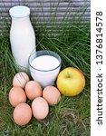 a bottle of fresh organic milk...   Shutterstock . vector #1376814578