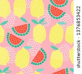 seamless childish pattern with... | Shutterstock .eps vector #1376853422