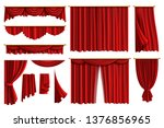 Red Curtains. Set Realistic...