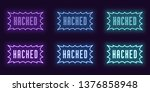 neon icon set of stamp hacked.... | Shutterstock .eps vector #1376858948