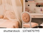 elegant soft stool with pink... | Shutterstock . vector #1376870795