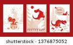 dinosaur vector tyrannosaurus... | Shutterstock .eps vector #1376875052