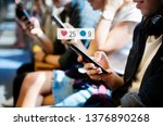 happy passengers on a subway... | Shutterstock . vector #1376890268