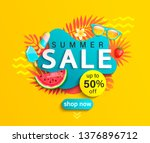 summer sale banner  hot season... | Shutterstock .eps vector #1376896712
