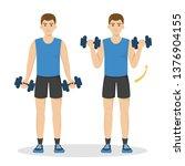 man doing arm workout using... | Shutterstock .eps vector #1376904155