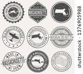 massachusetts set of stamps.... | Shutterstock .eps vector #1376905988