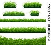 green grass borders big set ... | Shutterstock .eps vector #1376915312