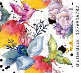 bouquet floral botanical... | Shutterstock . vector #1376916782