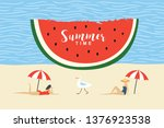 summertime vector illustration, two women rest on the beach and seagull