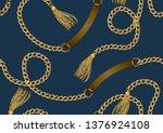 seamless golden chain  belt and ... | Shutterstock .eps vector #1376924108