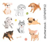 set of dog characters. cute...   Shutterstock .eps vector #137693912