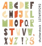 colorful alphabeth in... | Shutterstock .eps vector #1376959292