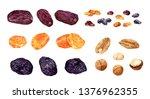 Big Set Of Dried Fruits. Dates...