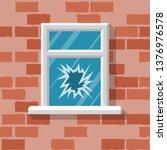 broken window. vector... | Shutterstock .eps vector #1376976578