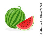 watermelon and juicy watermelon ... | Shutterstock .eps vector #1376992778