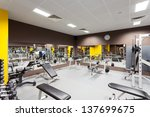 interior of new modern gym with ... | Shutterstock . vector #137699675