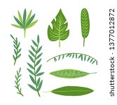 tropical leaves set in doodle... | Shutterstock .eps vector #1377012872