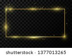 golden frame with lights... | Shutterstock .eps vector #1377013265