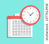 vector calendar and clock icon. ... | Shutterstock .eps vector #1377013928