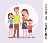 family portrait. father  mother ... | Shutterstock .eps vector #1377021848