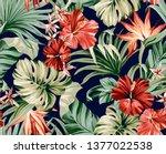 seamless pattern exotic... | Shutterstock . vector #1377022538