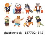 collection of cute happy wild... | Shutterstock .eps vector #1377024842