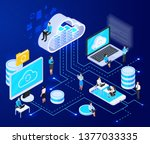 cloud services isometric... | Shutterstock .eps vector #1377033335