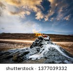 burning gas in the mud... | Shutterstock . vector #1377039332