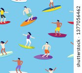 surfers on surfboards in sea... | Shutterstock .eps vector #1377056462