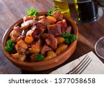 roasted chopped pig snout...   Shutterstock . vector #1377058658