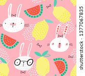 seamless childish pattern with... | Shutterstock .eps vector #1377067835