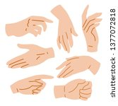 hands set on white background ... | Shutterstock .eps vector #1377072818