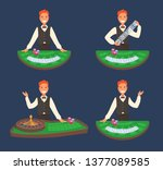 a smiling casino dealer stands...   Shutterstock .eps vector #1377089585