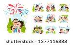 cartoon scenes of american... | Shutterstock .eps vector #1377116888