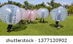 Stock photo adult human classified hamster bubble soccer ball for outdoor inflatable games skhirat morocco 1377120902